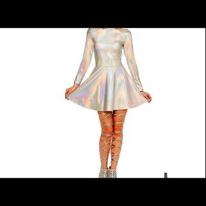 Silver fit  and flare alone dress